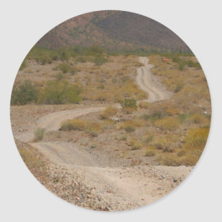 Lonely Desert Road 01 Classic Round Sticker