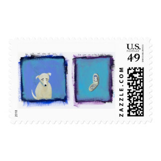 Lonely Dog - fun painting cell phone art Postage
