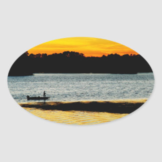 Lonely Fisherman Oval Sticker