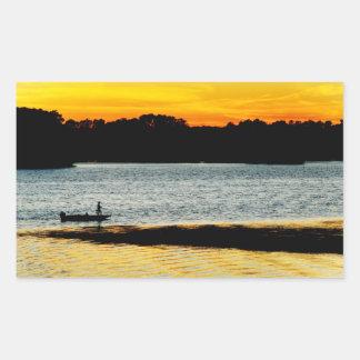 Lonely Fisherman Rectangular Sticker