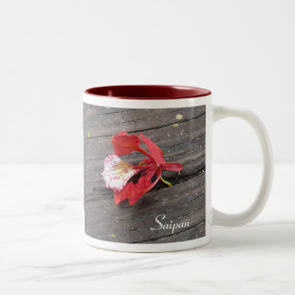 Lonely Flame Tree Blossom On A Boardwalk Two-Tone Coffee Mug