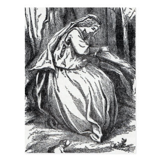 Lonely Forlorn Princess With Frog in Forest Postcard