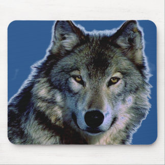 Lonely Free Wolf Artwork Blue Background Mousepad
