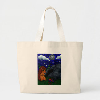 Lonely Hedgehog at night Tote Bags