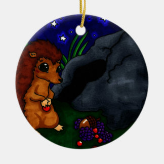 Lonely Hedgehog at night Christmas Tree Ornaments