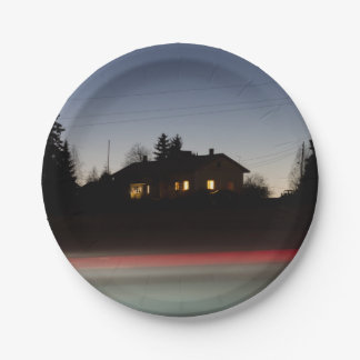 Lonely house 7 inch paper plate