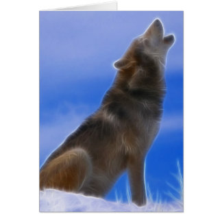 Lonely Howling Endangered Gray Wolf Card
