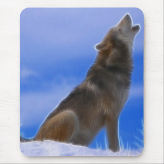 Lonely Howling Endangered Gray Wolf Mouse Pad