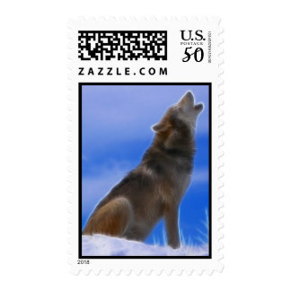 Lonely Howling Endangered Gray Wolf Postage