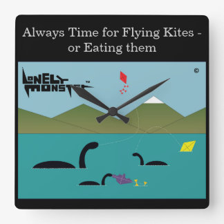 Lonely Monsters Flying Kites Square Wall Clock