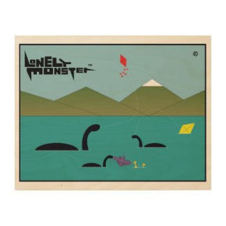 Lonely Monsters Flying Kites Wood Print
