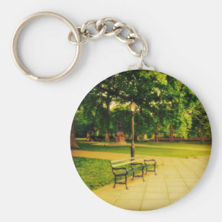 Lonely Park Bench Basic Round Button Keychain