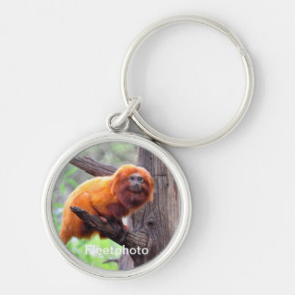 Lonely Red Leaf Monkey Silver-Colored Round Keychain