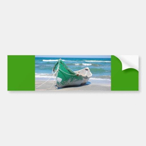Lonely-row-boat607 Row boat ocean beach shore wave Bumper Sticker