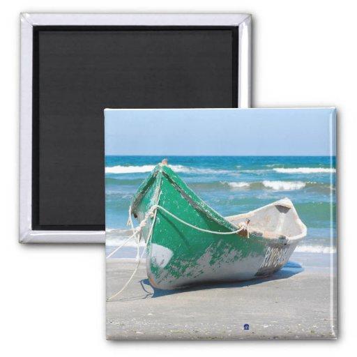 Lonely-row-boat607 Row boat ocean beach shore wave Fridge Magnets