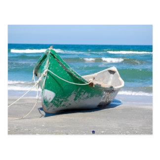 Lonely-row-boat607 Row boat ocean beach shore wave Postcards