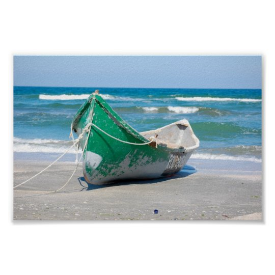 Lonely-row-boat607 Row boat ocean beach shore wave Poster