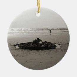 Lonely Sandcastle Ceramic Ornament