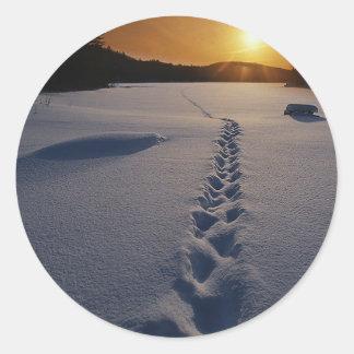 Lonely Snow Walk Classic Round Sticker