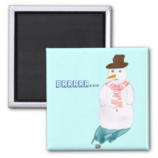 Lonely Snowman 2 Inch Square Magnet