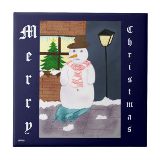 Lonely Snowman Small Square Tile