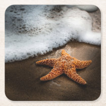 Lonely Starfish On The Beach Square Paper Coaster