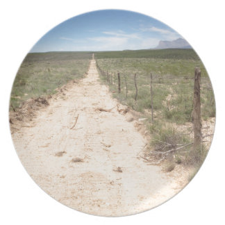 Lonely trail in East Texas with Guadalupe peak Plate