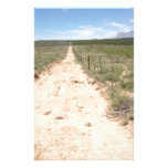 Lonely trail in East Texas with Guadalupe peak Stationery Design