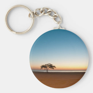 Lonely tree at sunrise in Kuwait Basic Round Button Keychain