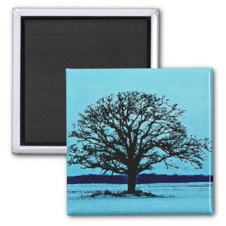 Lonely Tree in a Winter Landscape 2 Inch Square Magnet