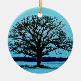 Lonely Tree in a Winter Landscape Ceramic Ornament