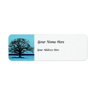 Lonely Tree in a Winter Landscape Label