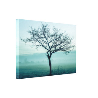 Lonely tree in a winter mist canvas print