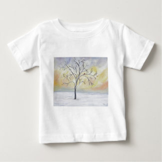 Lonely Tree in Winter Acrylic Painting Baby T-Shirt