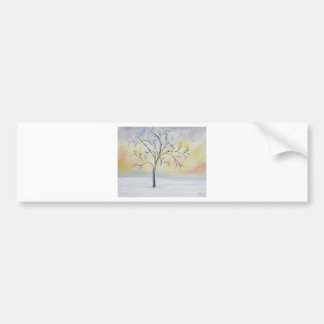 Lonely Tree in Winter Acrylic Painting Bumper Sticker