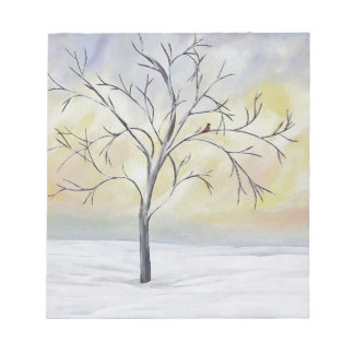 Lonely Tree in Winter Acrylic Painting Memo Note Pads