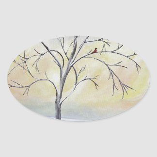 Lonely Tree in Winter Acrylic Painting Oval Sticker