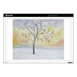 """Lonely Tree in Winter Acrylic Painting 17"""" Laptop Skin"""