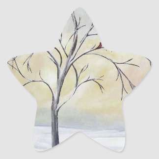 Lonely Tree in Winter Acrylic Painting Star Sticker
