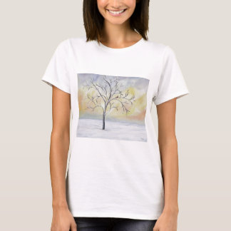 Lonely Tree in Winter Acrylic Painting T-Shirt