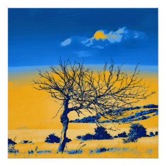 Lonely tree on blue poster