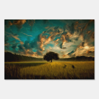 Lonely tree painting lawn sign