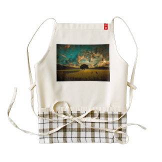 Lonely tree painting zazzle HEART apron