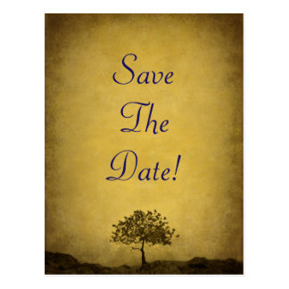 Lonely Tree Sepia Tone Save The Date Wedding Postcard