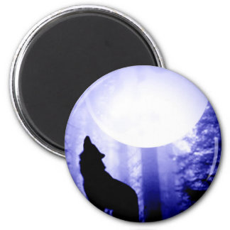 Lonely Wolf Howling at Moon 2 Inch Round Magnet