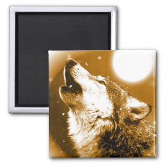 Lonely Wolf Howling at Moon 2 Inch Square Magnet