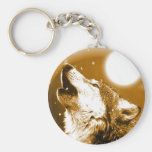 Lonely Wolf Howling at Moon Key Chains