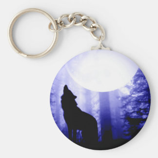 Lonely Wolf Howling at Moon Keychain