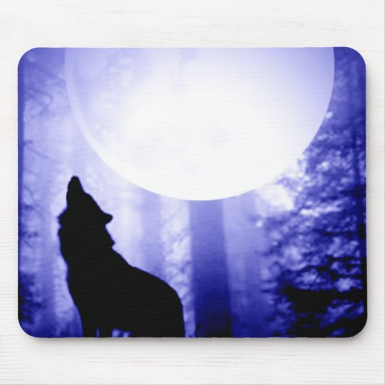 Lonely Wolf Howling at Moon Mouse Pad