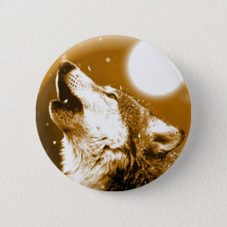 Lonely Wolf Howling at Moon Pinback Button